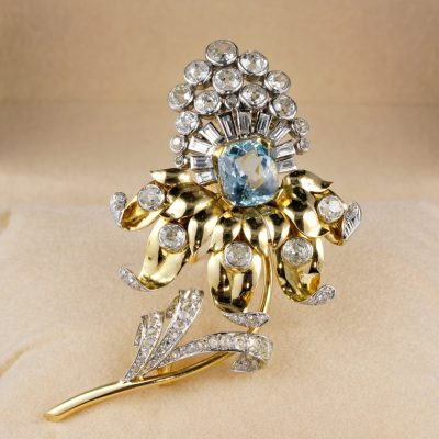 Magnificent French Art Deco Aquamarine 6.40 Ct Diamond Rare Flower Brooch