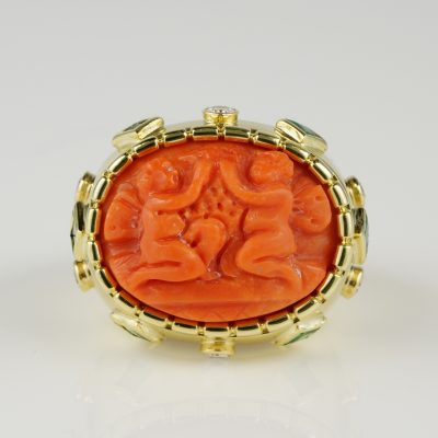 Magnificent Coral Putti Diamond Emerald Rare Vintage ring
