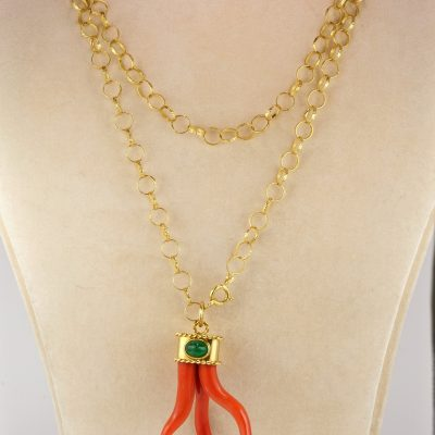 Magnificent Signed Vintage Coral Cornetto Emerald Pendant With Long Chain