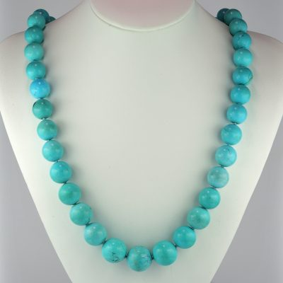 Spectacular 100% Natural Untreated Persian Turquoise Necklace Diamond Clasp 1950 ca