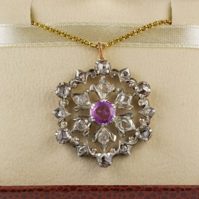 Victorian Natural Ruby Rose Cut Diamond Beautiful Flower Pendant Chain
