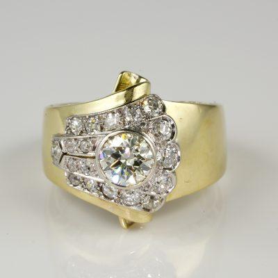 Outstanding Art Deco Rare 1.50 Ct Diamond Buckle ring 1925 ca!