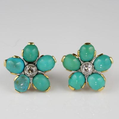 Edwardian Genuine Persian Turquoise .80 Ct Diamond Rare Floret Stud Earrings 1900 ca!