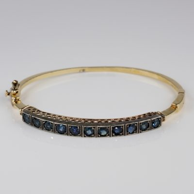 Charming Victorian 3.30 Ct Natural Sapphire Rare Riviere Bangle!