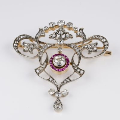 Stunning Edwardian Diamond Natural Ruby Brooch Pendant Necklace