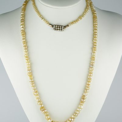 Stunning Georgian Rare Natural Basra Pearls Long Flapper necklace 4 to 9 mm. 33.3 Grams!