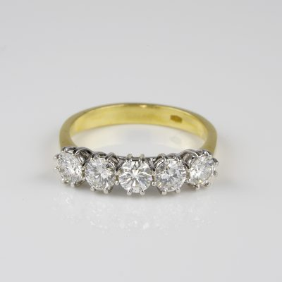 Exceptional Vintage Five Stone Diamond Ring