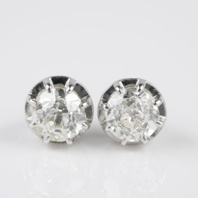 Authentic Edwardian 1.10 Ct Old Mine Cut Diamond G/H VVS Platinum Studs
