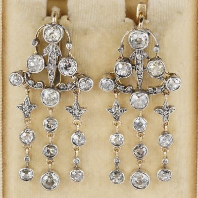Victorian 6.0 Carat Diamond Plus Rare Chandelier Earrings