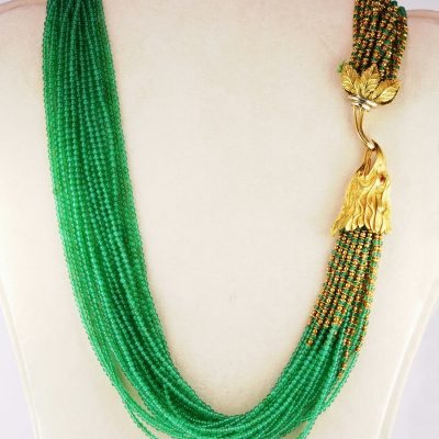 Magnificent Mid-century Natural Chrysoprase Sculptured Eagle Rare Necklace