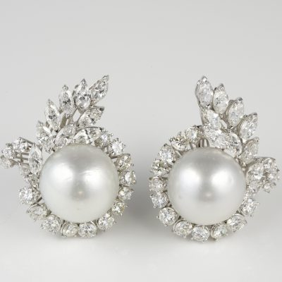 Exceptional 1950 ca 6.50 Ct Diamond 15.50 MM South Sea Pearl Earrings
