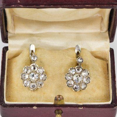 Spectacular Edwardian Rose Cut Diamond Rare Drop Earrings