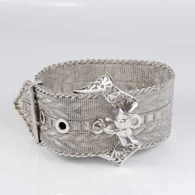 Edwardian Rare 18 KT White Gold Buckle Bracelet