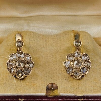 Authentic Victorian 1.20 Ct Rose Cut Diamond Cluster Earrings