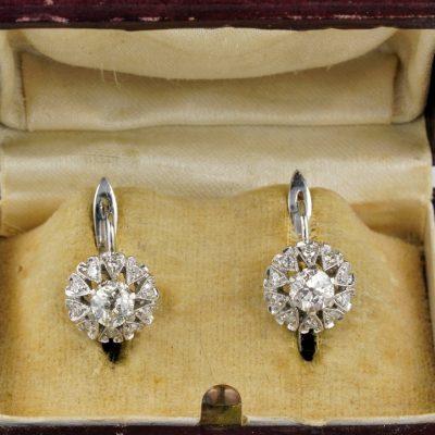 Delightful Art Deco Diamond 1.40 Ct Diamond Sparkling Earrings