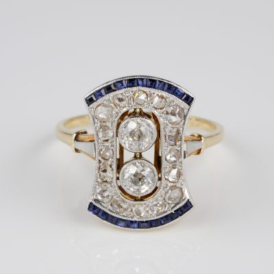 Spectacular Edwardian Diamond Sapphire Platinum 18 KT Gold Rare ring
