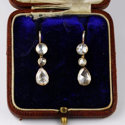 Rare Georgian 2.30 Ct Rose Cut Diamond Trilogy Drop Pendant earrings