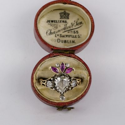 Authentic Georgian Crowned Heart Diamond Ruby Rare Ring