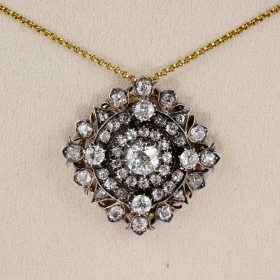 Exceptional Authentic Victorian 5.85 Ct Old Cut Diamond Rare Brooch Pendant