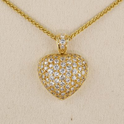 Spectacular Quality French 2.80 CT Diamond Heat Pendant Chain