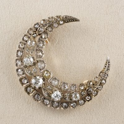Stunning French Victorian 3.60 Ct Diamond Crescent Moon Brooch Pendant