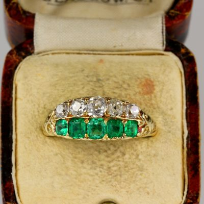 Stunning Victorian Muzo Mine Colombian Emerald Diamond Five Stone Rare Ring