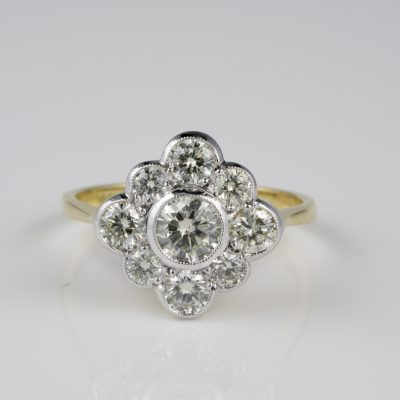 Magnificent Late Deco Era 1.60 Ct Diamond Platinum Gold Cluster Ring