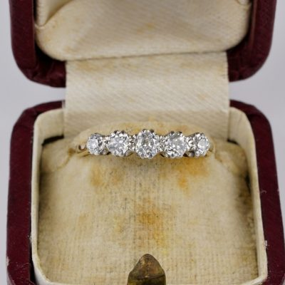 Spectacular Art Deco .70 Ct Old Mine Diamond Five Stone Ring Plat/18 Kt