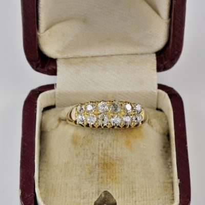 Glorious Victorian Unisex 1.20 Old Mine cut Diamond Double Row Rare Ring