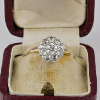 Authentic Edwardian 1.60 Ct Old Mine cut Diamond Rare Engagement Cluster ring
