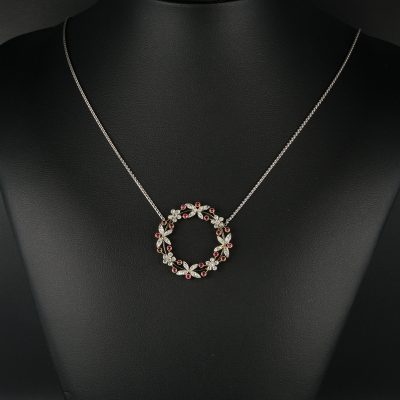 Edwardian Natural Ruby Diamond Platinum Pendant Necklace