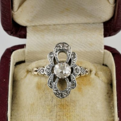 Gorgeous Edwardian Rose cut Diamond Bow Ring 14 Kt Silver