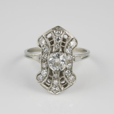 Magnificent Belle Epoque .90 Ct Diamond rare Panel Ring 1910 ca