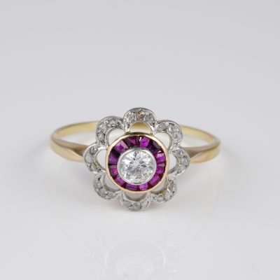 Belle Epoque Diamond Ruby Rare Target Ring 1910 ca