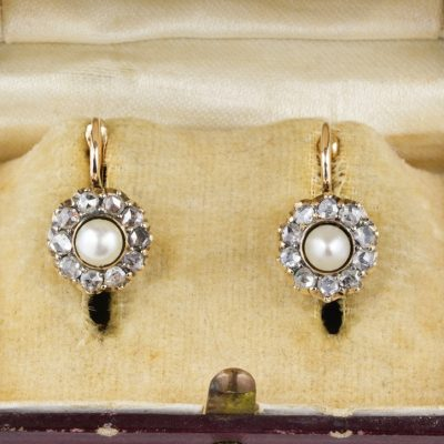 Authentic Victorian Natural Pearl Diamond Sweet Lobe Earrings 1870 ca