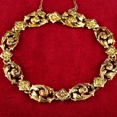 French Marks Rare  Art Nouveau 18Kt Gold Carved bracelet