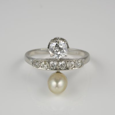 Finest French Belle Epoque  You & Me Diamond Natural Pearl Platinum Ring