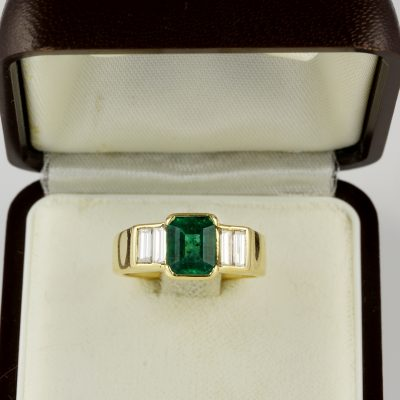 Spectacular Art Deco 1.70 Ct Colombian Emerald .60 Diamond  Ring