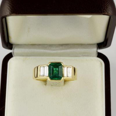 Spectacular Art Deco 1.70 Ct Colombian Emerald .60 Diamond  Ring