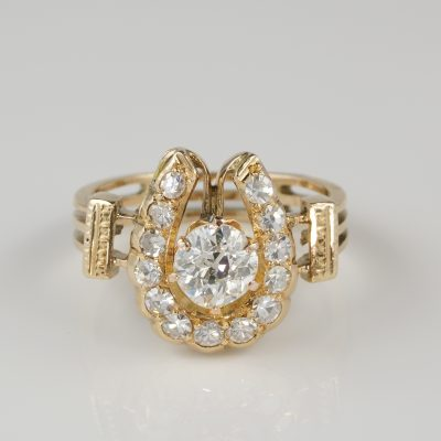 Outstanding Victorian 1.55 CT Diamond Good Luck Rose Gold Ring