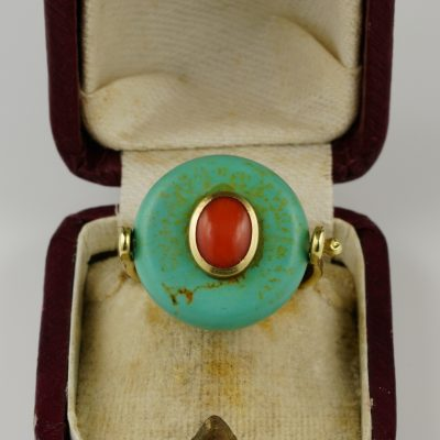 Victorian Rare Natural Turquoise Coral 18 KT Flip Ring