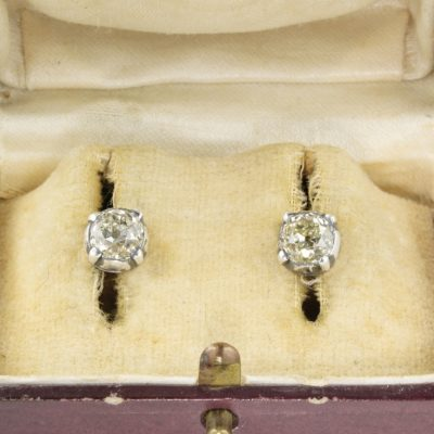 Rare Victorian 2.15 Ct Old Mine Diamond Solitaire Stud Earrings