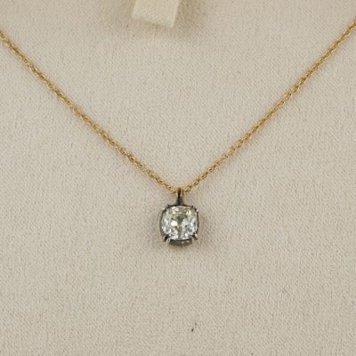 Rare Victorian 1.0 Ct Old Mine Cut Diamond Solitaire Pendant with free chain