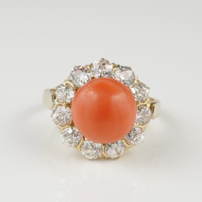 Magnificent Genuine Victorian 2.70 Ct Old Mine Diamond Salmon Coral Ring