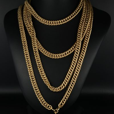 Victorian Solid 18 KT  Rare 166 cm. Extra Long  Curb Necklace