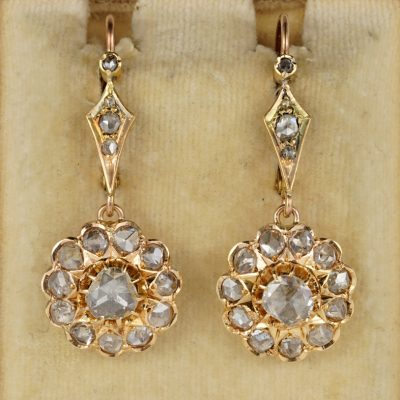 Authentic Victorian 3.80 Ct Diamond Rare Drop Earrings