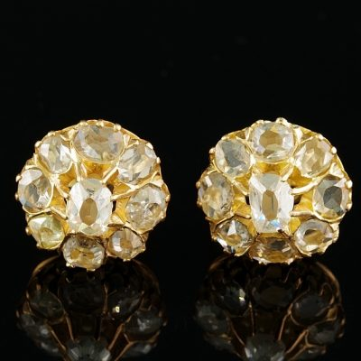 Authentic Victorian 2.20 Ct Mine Cut Diamond Rare Stud Earrings
