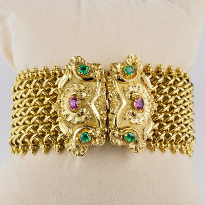 Magnificent Victorian Natural  Ruby Emerald Rare Bracelet
