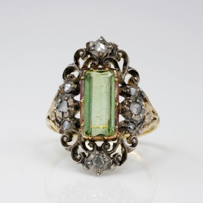 Georgian Natural Tourmaline Diamond Rare Scroll Ring