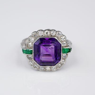 Art Deco 6.00 Ct natural Siberian Amethyst Diamond Emerald Platinum Ring